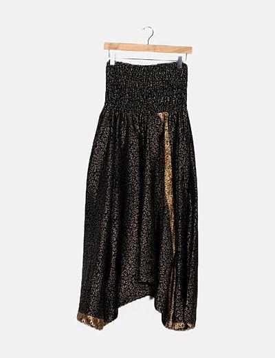Pantalón hindú negro estampado