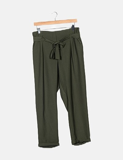 Pantalón verde fluido tiro alto lazo