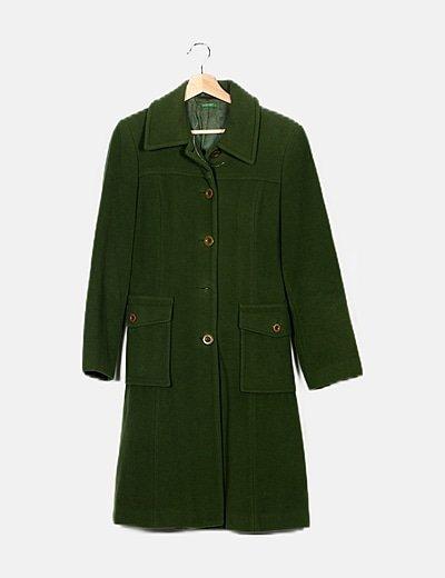 Abrigo largo verde de paño