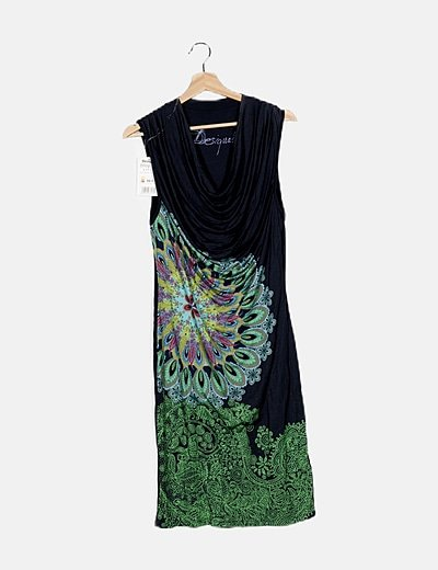 Vestido azul detalle estampado escote baba