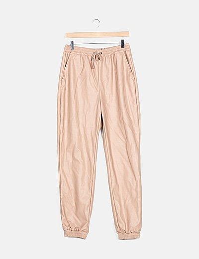 Pantalón baggy rosa encerado