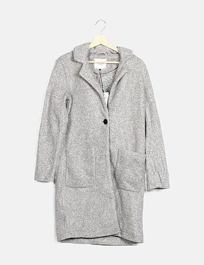 Abrigo largo gris texturizado