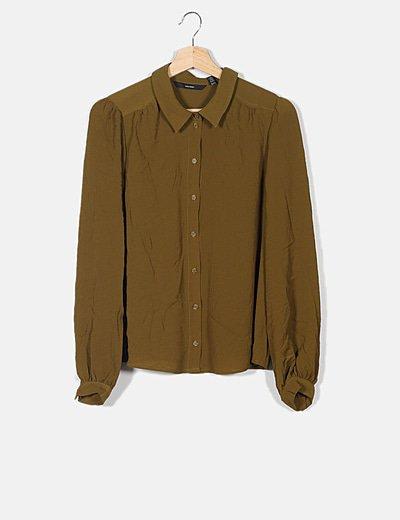 Camisa fluida verde fruncidos