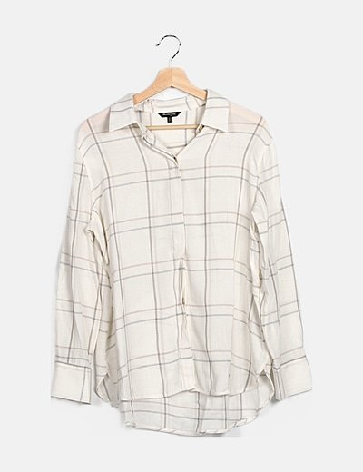 Camisa blanca de cuadros