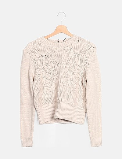 Jersey tricot beige relieve