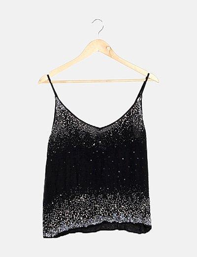 Top negro glitter