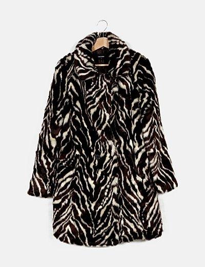 Abrigo bicolor animal print pelo