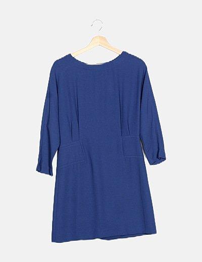 Vestido texturizado azul marino