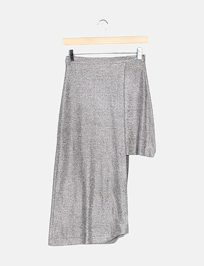 Falda midi asimétrica plateada