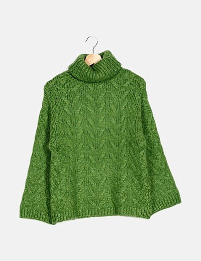 Jersey lana verde cuello vuelto