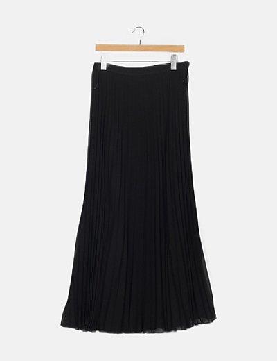 Maxi falda plisada negra