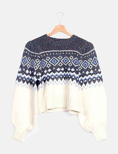 Jersey lana azul mangas bombacho