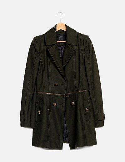 Abrigo paño verde oscuro
