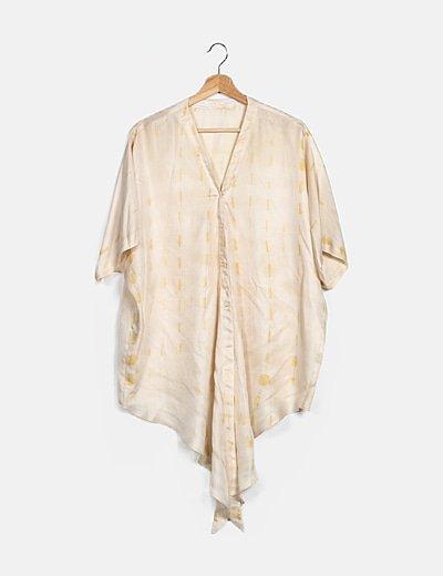 Camisa seda beige estampada