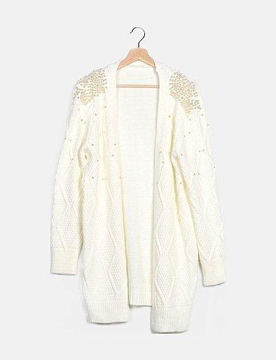 Cárdigan lana blanco con perlas
