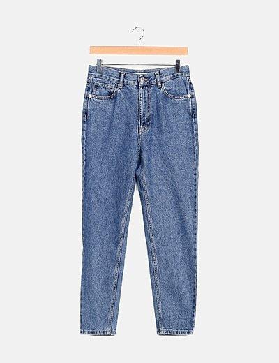 Pantalón denim azul mom fit