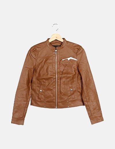 Chaqueta biker marrón