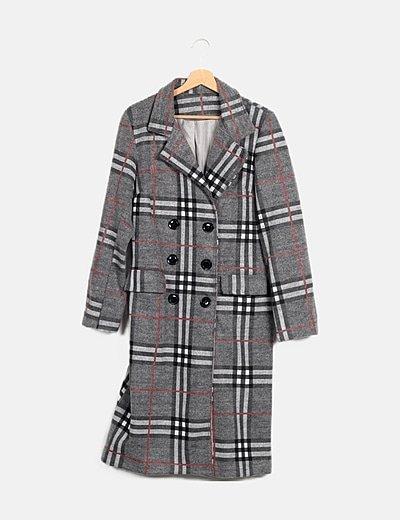 Abrigo largo gris cuadros