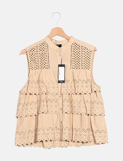 Blusa marrón guipur