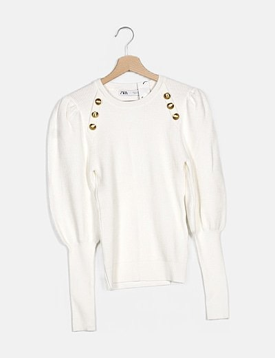 Jersey blanco canalé