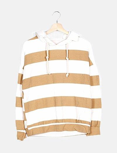 Sudadera rayas marrón con capucha