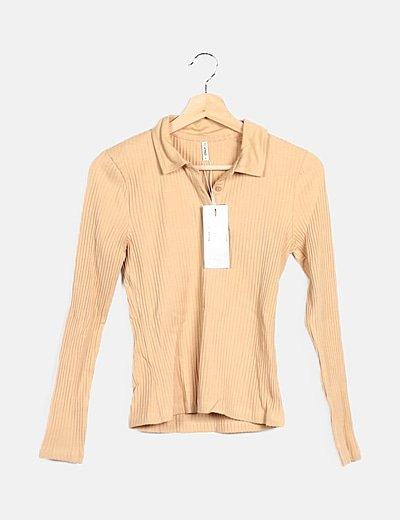 Camiseta beige canalé