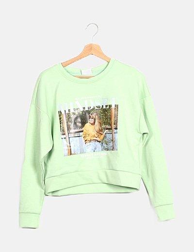 Sudadera verde print girl
