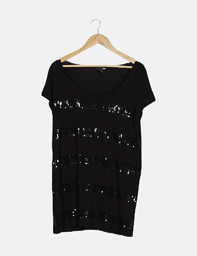 Vestido midi negro detalle paillettes