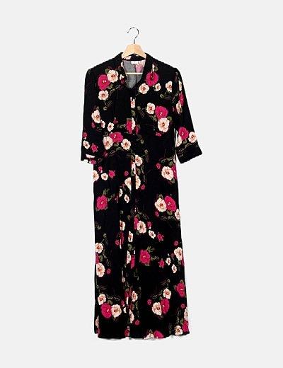 Vestido negro print floral