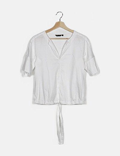 Blusa blanca cordón cintura