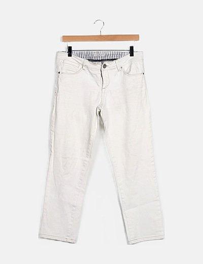 Pantalón denim recto blanco