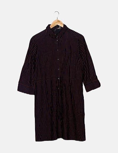 Vestido camisero bicolor rayas