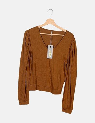 Camiseta marrón manga larga