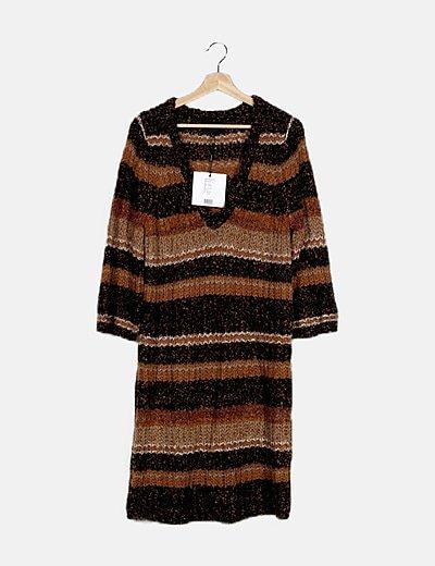 Vestido tricot multicolor cuello pico
