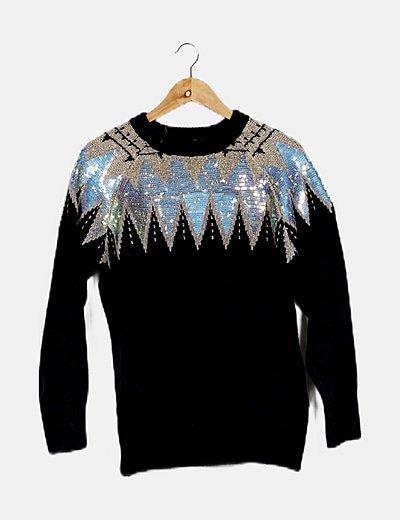 Jersey tricot azul detalle dibujo paillette