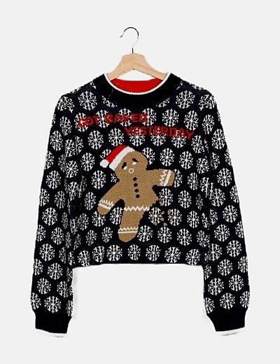 Jersey tricot azul estampado navideño