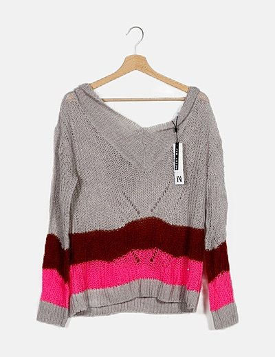 Jersey tricot gris rayas rosas