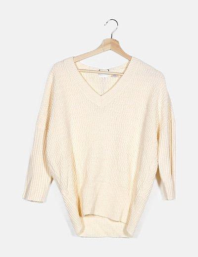 Jersey beige escote pico