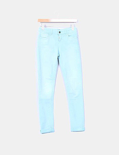 Jeans denim turquesa super skinny