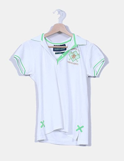 Polo manga corta verde y blanco