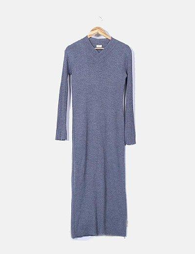 Maxi vestido tricot gris
