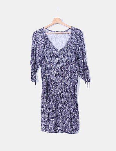 Vestido azul marino estampado con bolsillos