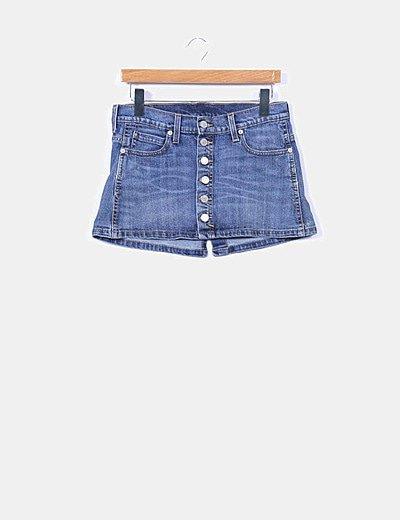 Mini falda denim abotonada