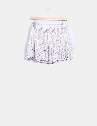 Mini falda volantes beige estampado