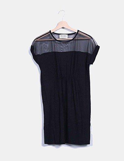 Vestido negro evalotta escote tul