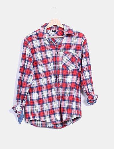 Camisa estructurada cuadros rojos