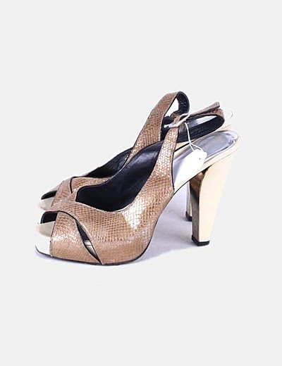 Sandalias destalonadas tiras doradas