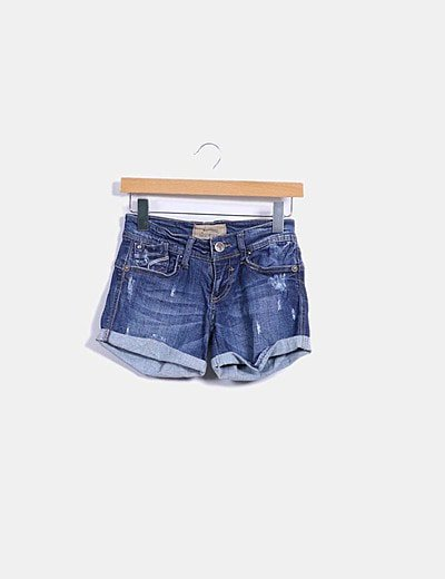Shorts denim con dobladillo
