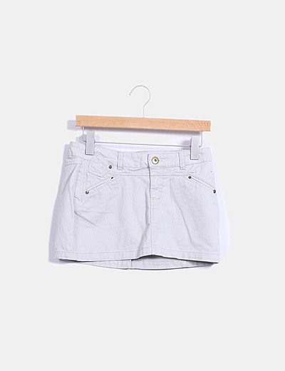 Mini falda denim beige