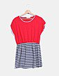 Vestido rojo y gris oversize con rayas LuluCastagnette